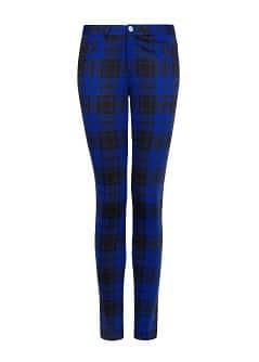 Plaid elastic trousers