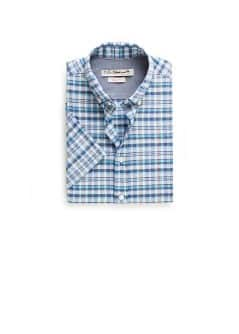 Short sleeved slim-fit checked shirt