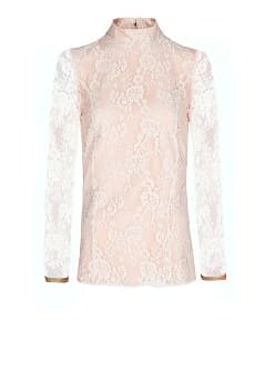 Funnel neckline lace blouse