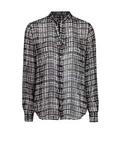 Irregular check chiffon blouse