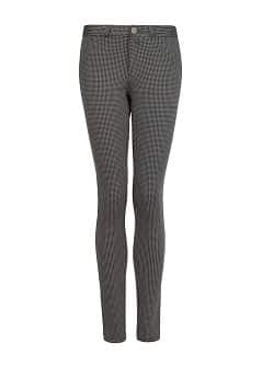 Houndstooth elastic trousers