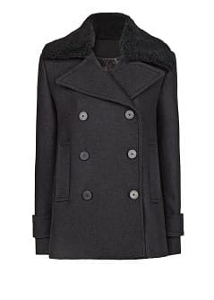 Shearling collar wool-blend peacoat