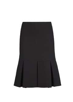 Pleated hem ponte skirt