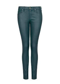 Super slim-fit coated green jeans