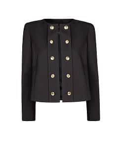 Buttoned lapel wool jacket