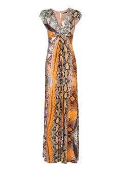 Contrasted snake print long dress