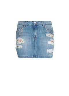 Chain denim miniskirt