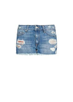 Ripped dark wash denim shorts