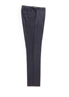 Chalk-stripe wool-blend suit trousers