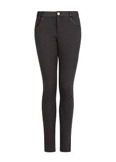 Faux leather detail elastic trousers