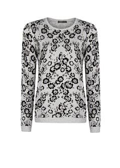 Flocked Floral Sweater