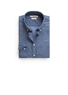 Slim-fit paisley chambray shirt