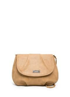 Pleated flap shoulder bag