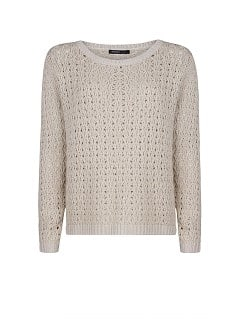 Metallic openwork knit sweater