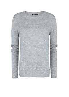 Rhinestone wool-blend sweater
