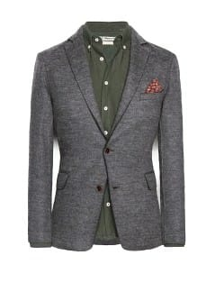 Raw-edge wool-blend blazer