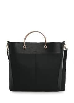 Metal handle tote bag