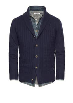Cable-knit wool cardigan