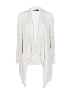 Ribbed detail waterfall cardigan