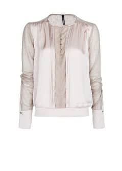 Lace detail satin blouse