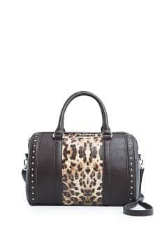 Leopard panel tote bag