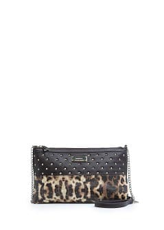 Leopard panel shoulder bag