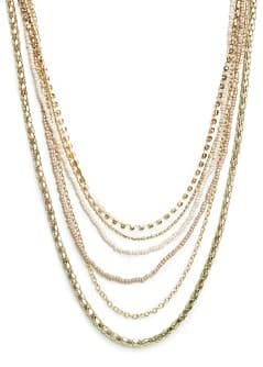 Metal beads and chains necklace