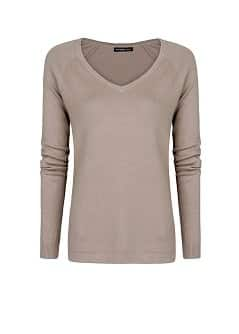V-neck cotton-blend sweater