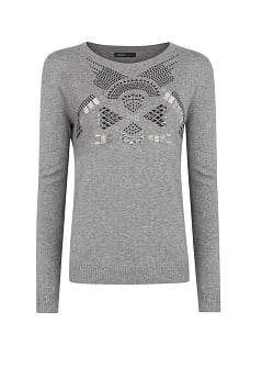 Beaded angora cotton-blend sweater