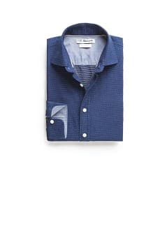 Chemise slim-fit à pois chambray