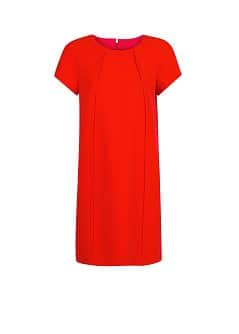 Pleat straight-fit dress