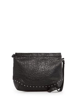 Studded pebbled shoulder bag
