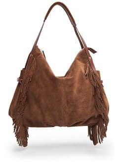 Fringed suede hobo bag