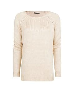 Openwork detail pearly sweater