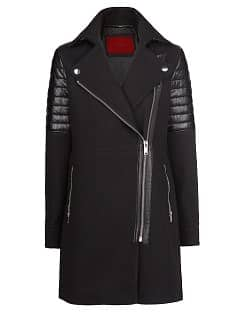 Leather appliqué biker coat