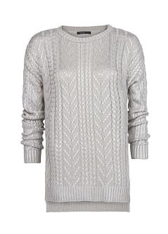 Cable-knit metallic sweater
