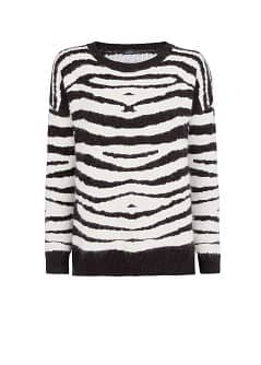 Zebra angora wool-blend sweater