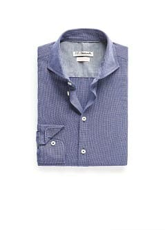Slim-fit herringbone cotton shirt