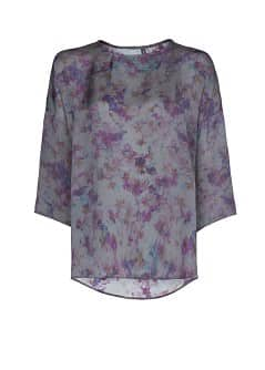 Watercolor print flowy blouse
