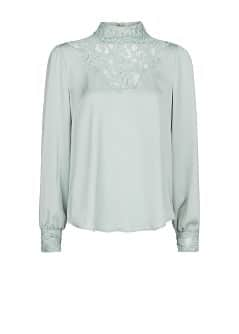 Lace panels satin blouse