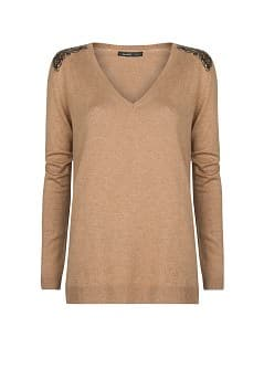 Sequined wool cotton-blend sweater