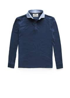 Shirt collar slub-cotton polo shirt
