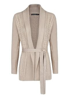 Belt cable-knit cardigan