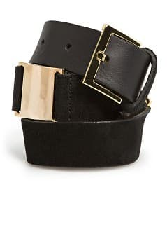METAL PLATES LEATHER BELT