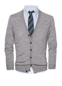 Elbow patch wool cardigan