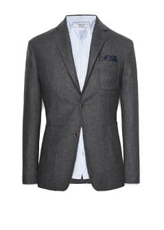 Unstructured herringbone wool-blend blazer