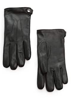 Wool-blend lining leather gloves