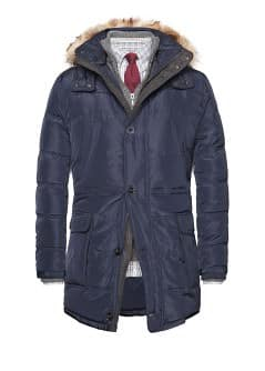 Faux fur trim feather down parka