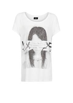 Image slub cotton-blend t-shirt