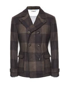 Check wool-blend peacoat